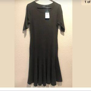 Lauren Ralph Lauren Knit Midi Olive Green Dress M